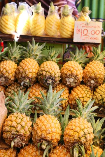 Stacks of small, sweet pineapple