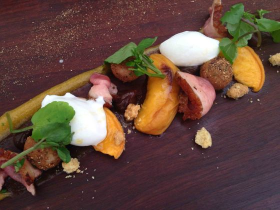 Salad of seared Kroon duck, grilled peach, pepper crumble, celeriac chantilly and watercress