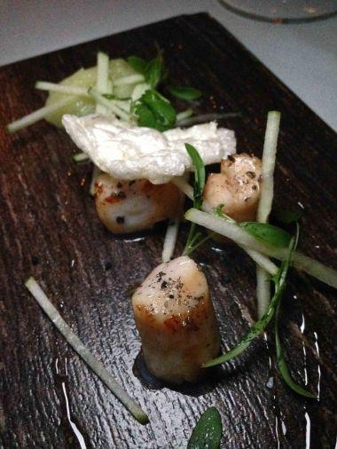 Scallops, elder flower, granny smith and wasabi