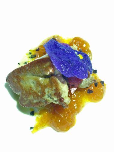 Foie gras, gooseberry, pork cheek and chili