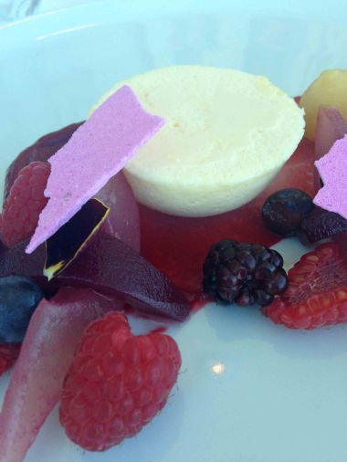Pannacotta, lavender merengue and fruits of the forest