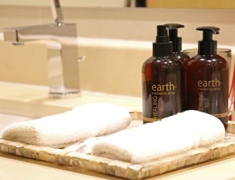 Locally produced toiletries add to the guest experience